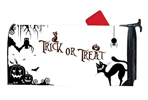 Halloween Pumpkin Cat Trick Or Track Mailbox Magnetic Cover Standard Capacity Post Box Covers Size 6.5 x 19 Inches