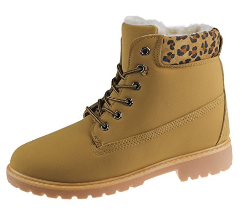 KOLLACHE Damen Fell Gefütterte Winter Warm Boots Combat Wandern Arbeit High Top Knöchel Schuhe Größe Camel
