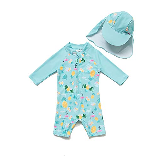 - Baby/Toddler Girl One Piece Swimsuit with UPF 50+ Sun Protection (Blue, 24-36 Months)