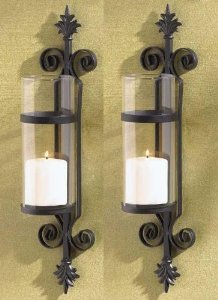 2 Black FLEUR de LIS Candle Garden Wall Hurricane SCONCES French Scroll Holder