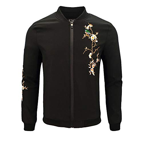 Dacawin Men's Winter Coat Sale Casual Printing Long Sleeve Zipper Jacket Baseball ()
