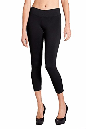 Women's Black Seamless Capri Leggings US-L27 4109SOGS40L