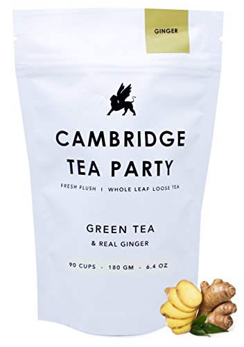 Crushed Ginger Green Tea - Whole Leaf Loose Tea - 180g / 6.4oz / 90 servings - Premium Green Tea By Cambridge Tea Party