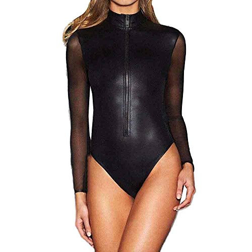 TANLANG Women's T Shirts Basic Bodysuits Jumpsuits Sexy Sheer Mesh Long Sleeve Zip Front Leather Tops Bodycon Bodysuit Black