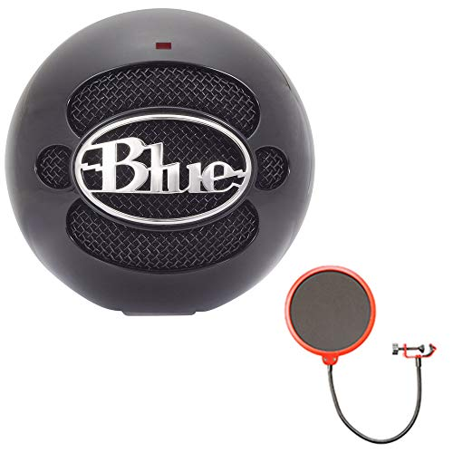 Blue Microphones Snowball USB Microphone - Gloss Black (SNOWBALLGLOSSBLACK) with Deco Gear Universal Pop Filter Microphone Wind Screen with Mic Stand Clip