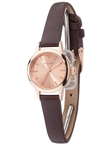 Yves Camani Gardanne Women's Watch Quartz Stainless Steel Rosegold Plated Rosegold Dial Brown Leather Strap YC1076-C