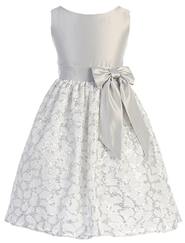 Sweet Kids Girls New Sequin Floral Lace and Satin Dress