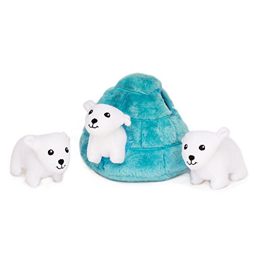 (ZippyPaws Zoo Friends Burrow, Interactive Squeaky Hide and Seek Plush Dog Toy - Polar Bear Igloo)