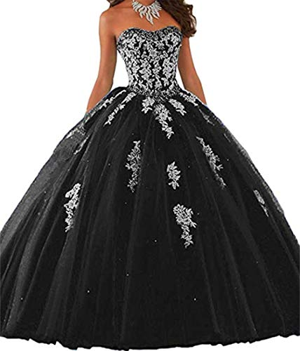 Elley Women's Lace Applique Sweet Sixteen Girl Birthday Party Backless Tulle Quinceanera Dress Black