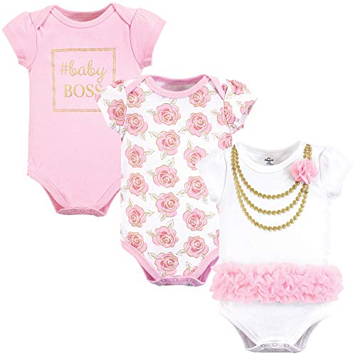 Little Treasure Unisex Baby Cotton Bodysuits, Gold Roses 3Pk Short Sleeve, 6-9 Months (9M)