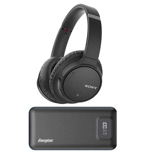 Sony WH-CH700N Wireless Noise-Canceling Over-Ear Headphones with Microphone, Full Size, Bluetooth and NFC, Black - with Energizer 20000mAh LCD Display Portable Power Bank, Black