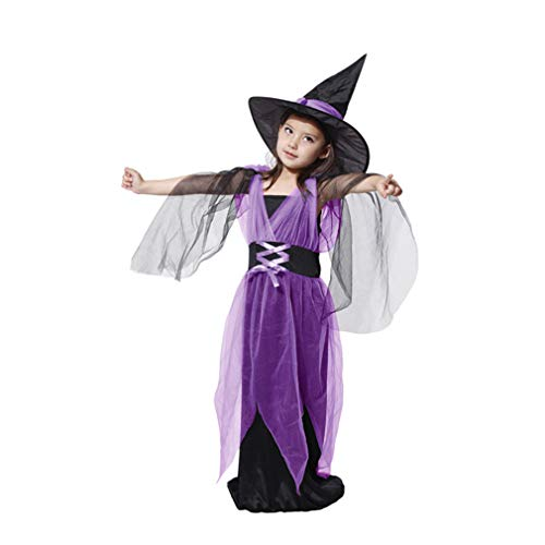 Spooktacular Girls' Elegant Purple Witch Costume Set with Dress and Hat, L -
