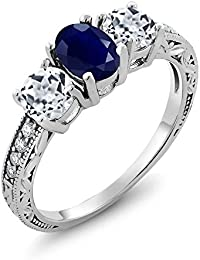 2.14 Ct Oval Blue Sapphire White Topaz 925 Sterling Silver Women's Ring (Available in size 5, 6, 7, 8, 9)