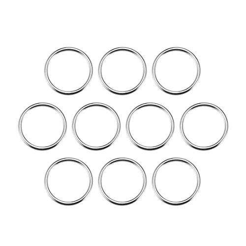 uxcell 10 Pcs O Ring Buckle 1.2 Inch Metal Circular O-Rings Silver Tone for Hardware Bags Belts Craft DIY Accessories