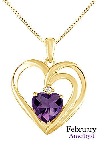 AFFY Heart Shape Simulated Amethyst & White Cubic Zirconia Pendant Necklace in 14k Yellow Gold Over Sterling Silver