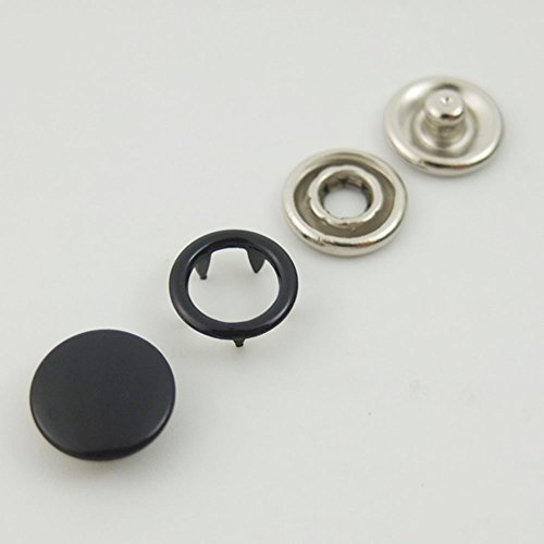 Bluemoona 100 Sets - 3/8'' 9.5mm Open Ring No Sew Snaps Fasteners Swing Stud Attaching Buttons Copper (Black) by Leathercraft Accessories