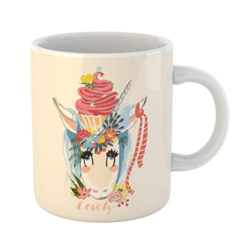 (Emvency 11 Ounces Coffee Mug Colorful Abstract Cute Unicorn Flowers Wreath and Beautiful Cupcake Bouquet Ribbon Sketchy Watercolor Animal White Ceramic Glossy Tea Cup gift)