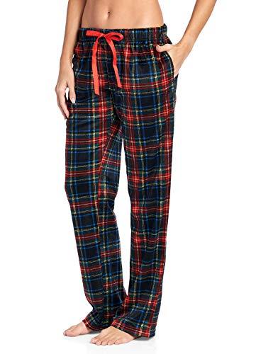 Ashford & Brooks Women's Plush Mink Fleece Pajama Sleep Pants - Black Stewart Plaid - Medium ()