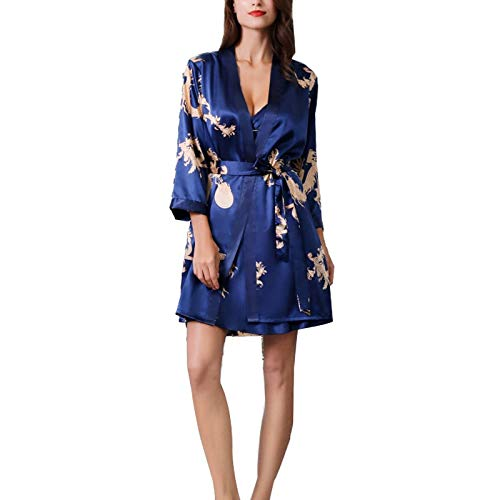 (CWXG Women Sleepwear Sexy Silk Satin Robe Camisole Pajama Dress Two Piece Suit Sleepwear Above Knee Chemise Satin Silk Pajamas Set Long Sleeve Loungewear Sets Best Gift for GirlsBlue-XL)
