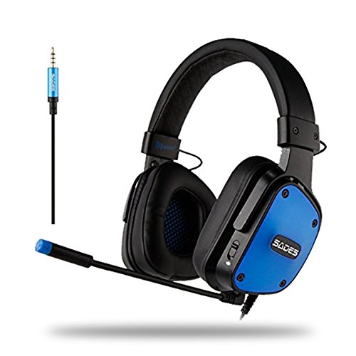 Cheap SADES Dpower Console Gaming Headset for PS4, PC, Xbox One Controller, Noise Cancelling sound, flexible Mic, Strong Bass Surround, Soft Memory Earmuffs for Laptop, Mac, Nintendo Switch Games, PS4 Games