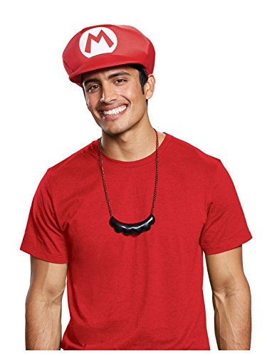 Disguise Men's New Mario Hat & Mustache Necklace Costume Kit, red One Size Adult ()