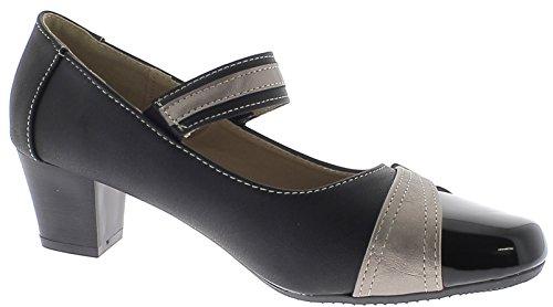 ChaussMoi Zapatos de Mujer Negro Cómodo con Pequeño Tacón DE 4,5 cm y ALA Ancha