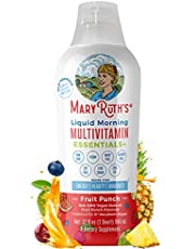 Morning Liquid Multivitamin + Zinc + Elderberry + Organic Whole Food Blend by MaryRuth's Vitamin A B C D3 E Trace Minerals & Amino Acids 100% Vegan - Men Women Kids 0 Sugar 32oz