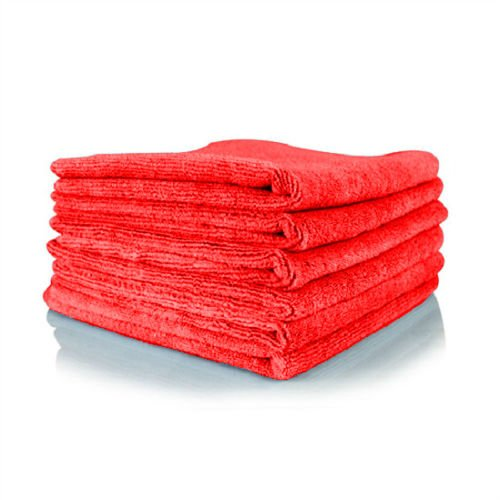 GHP 240-Pcs 16''x16'' 300 GSM Red Lint-Free Absorbent Microfiber Plush Cleaning Towels by Globe House Products
