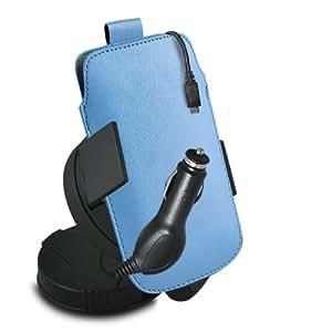 ONX3 Acer Liquid E2 Leather Slip cuerda del tirón de la PU de protección en la bolsa con el caso de Quick Release, 360 que gira la horquilla del parabrisas del coche y 12v Micro USB cargador de coche (Baby Blue)