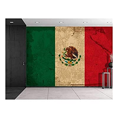 Large Wall Mural - Vintage Flag of Mexico | Self-Adhesive Vinyl Wallpaper/Removable Modern Decorating Wall Art - 100