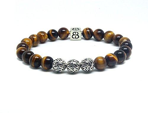 Tiger's Eye Bracelet, Men's Tiger's Eye and Sterling Silver Bali Beads Bracelet, Premium Quality Bracelet (Bead Tiger Sterling Silver Eye)