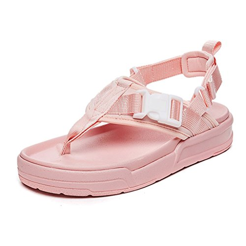 Sports Female Summer Thick-soled Fashion Wear Flat Beach Sandals And Slippers (Color : PINK, Size : 36) Pink
