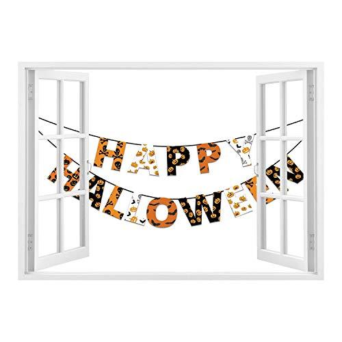 SCOCICI Wall Mural, Window Frame Mural/Halloween,Happy Halloween Banner Greetings Pumpkins Skull Cross Bones Bats Pennant Decorative,Orange Black White/Wall Sticker Mural