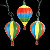 Set of 10 Multi-Colored Hot Air Balloon Novelty Christmas Lights - Green Wire