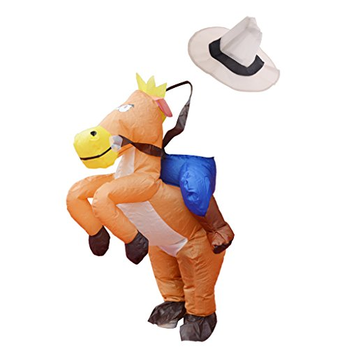 Baoblaze Kids Inflatable Costume Horse Rider Mascot Halloween Christmas Party Outfit -