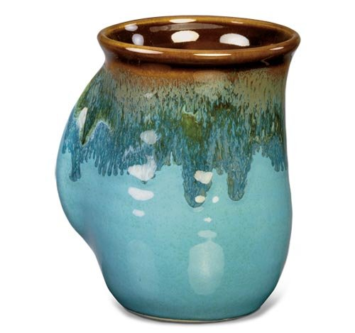 Clay in Motion Handwarmer Mug - Ocean Tide - Right Handed