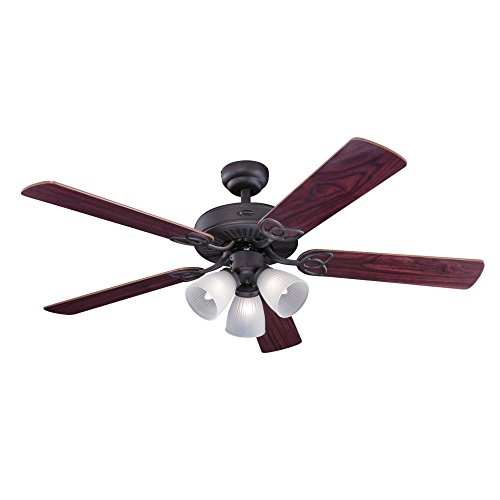 Westinghouse 7207900 Traditional Vintage 52 inch Oil Rubbed Bronze Indoor Ceiling Fan, Light Kit with Frosted Ribbed Glass Bronze Traditional Indoor Fan