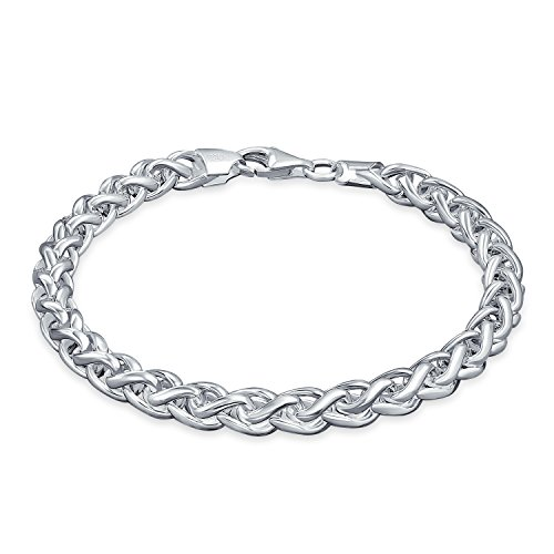 Wheat Braid Rope Link Bracelet For Men For Women 180 Gauge Solid Heavy Polished 925 Sterling Silver Made In Italy