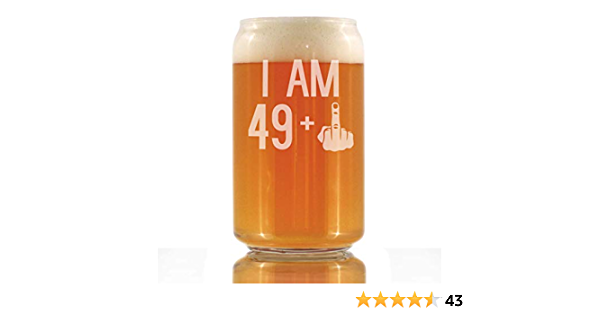 Funny Pint Glass for Beer Lovers 45th Birthday Gift for Men and Women I Am 44 1 Middle Finger Etched Sayings