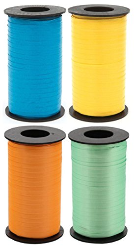 Tropical/Bright 4-Pack Bundle of Berwick Splendorette Crimped Curling Ribbon - Caribbean Blue, Sunshine, Tropical Orange, Mint - 500 yards each]()