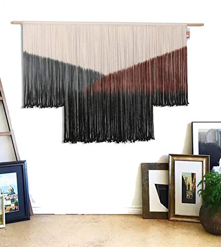 Flber Large Macrame Wall Hanging Tie-Dye Curtain Bohemian Yarn Tapestry Home Wall Boho Décor