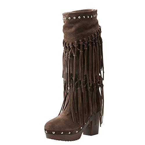 ARIAT Women's Music Row Western Boot Dark Brown Suede Size 9.5 B/Medium Us (Clogs Leather Ariat)