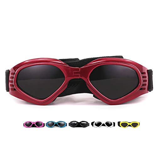 Vevins Dog Goggles Sunglasses UV Protective Foldable Pet Sunglasses Adjustable Waterproof Eyewear for Cat Dog (Red)
