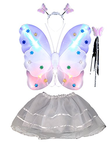 THEE 4pcs Girls LED Butterfly Wing Costume
