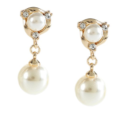 Clip on Dangle Earring Double Simulated Pearl Clip for non Pierced Gold Plated for teen ()