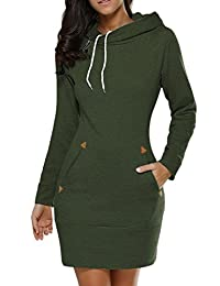 Women Plus Size Casual Pullover Drawstring Hoodie Sweater Sweatshirts Mini Dress