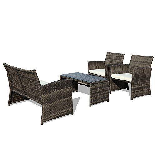 4 Piece Patio Conversation Set, Rattan Sectional Furniture Set with Cream White Seat Cushions, Outdoor PE Wicker, Gray