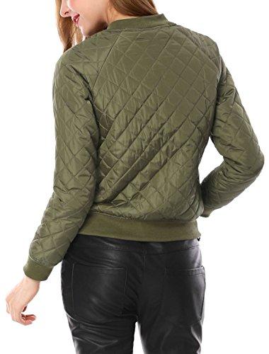 K raglán Allegra Mujer Chaqueta para Verde Acolchada Mangas de Cremallera Bombardero d74xq07