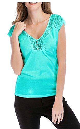 Area Womens Cap Sleeve T-shirts - Generic Women's Classic Cap Sleeve Lace Tee Tops T-Shirt Green M