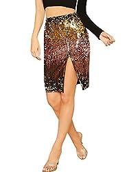 Sequin Side Splited High Waist Skirt